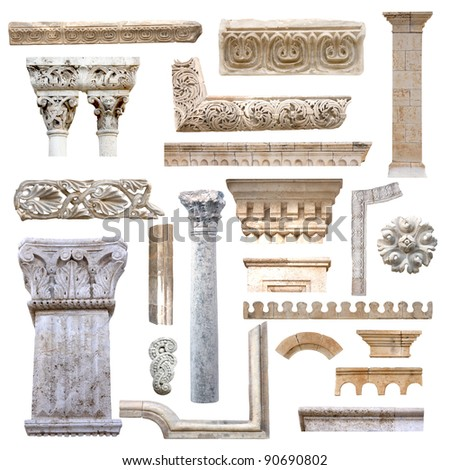Set of isolated antique architecture details from stones - stock photo