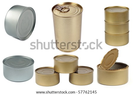Set of isolated cans on white background - stock photo