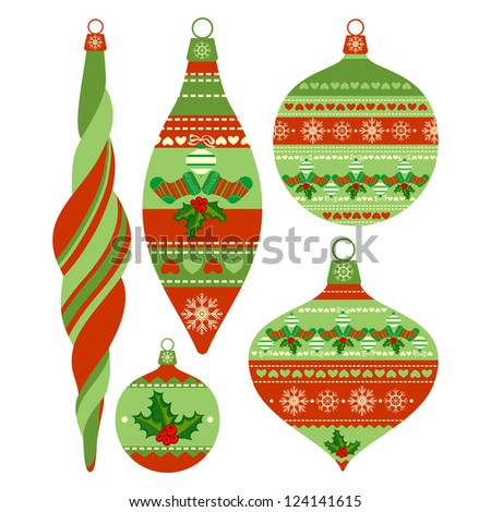 Set of Isolated Christmas Balls on White Background, Raster Version - stock photo