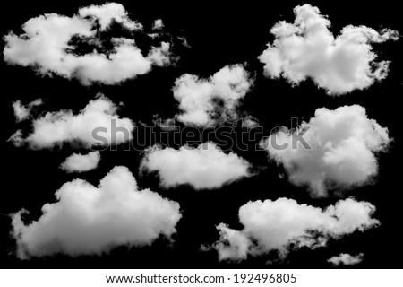 Set of isolated clouds over black. Design elements  - stock photo