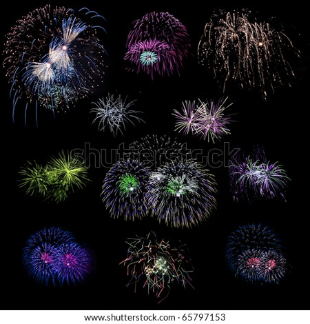 Set of isolated colored fireworks explosions on black - stock photo