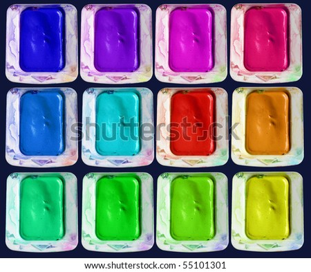 Set of isolated colors of watercolor paint-box