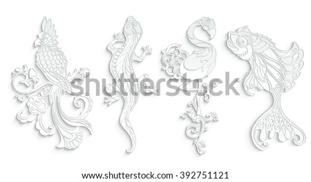 Set of isolated cut white paper figures. Exotic birds with flowers, lizard, beauty reptile and gold fish. Design elements with abstract decorative pattern. Ornament. Coloring book page. 3D silhouettes - stock photo