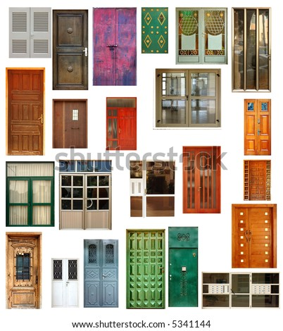 set of 23 isolated doors - stock photo