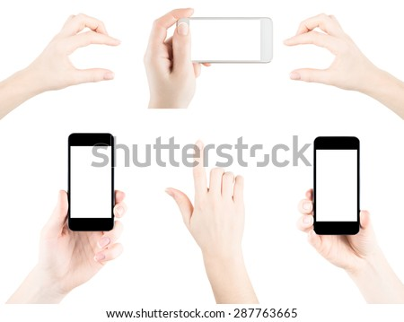 Set of isolated elemets from hands, fingers and teliphones with blank screen - stock photo