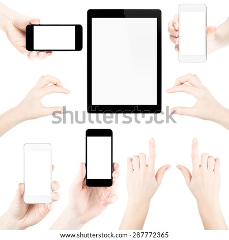 Set of isolated elemets from hands, fingers, tablets pc and phones with blank screen. - stock photo