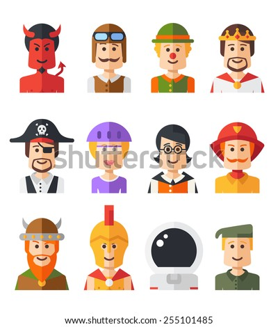 Set of isolated flat design people icon avatars for social network and your design - stock photo