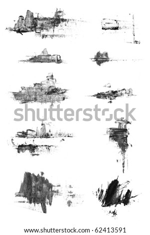 Set of isolated grunge textured  ink and watercolor brushes. Nice individual elements for design. - stock photo