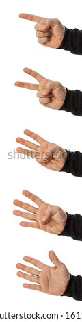 set of isolated hands counting 1,2,3,4,5 - stock photo