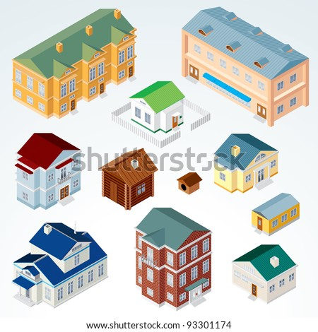 Set of Isolated Isometric Buildings. Illustration of Various Urban and Rural Houses and Dwellings, Detailed Clip Art with Easy Editable Colors. - stock photo