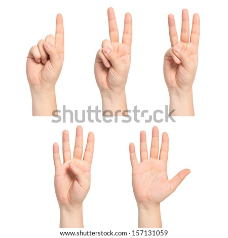 set of isolated man hands show the number one, two, three, four, five