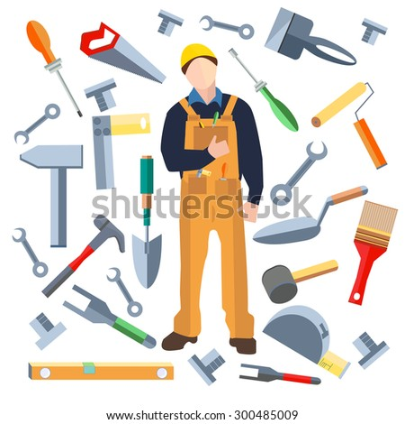 Set of isolated objects, builder into a flat style. Icons construction materials hammer, putty knife, screwdriver, saw, shovel. Logo design elements. Modern concept.  illustration