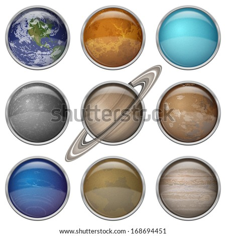 Set of isolated space buttons with planets of Solar System - Mercury, Venus, Earth, Mars, Jupiter, Saturn, Uranus, Neptune and Pluto. Elements of image furnished by NASA  - stock photo