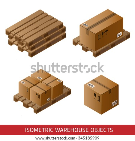 Set of isometric cardboard boxes and pallets isolated on white. 3D warehouse equipment. Industrial pallets and boxes for warehouse.  - stock photo