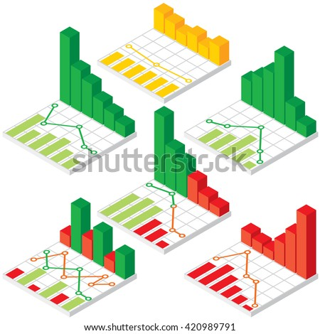 Set of Isometric Chart and Graph Icons. Various Design Elements. - stock photo