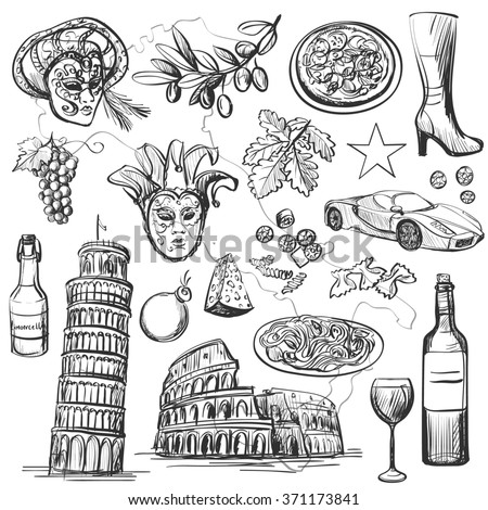 Set of Italy icons illustration with national italian food, sights, map and flag. Colosseum, Pompeii, Vatican, Leaning Tower of Pisa, Venice, pizza, wine, carnival mask