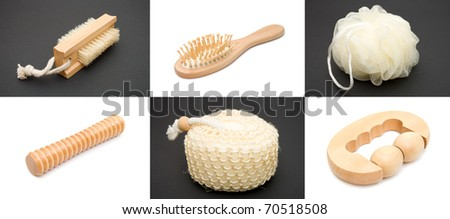 Set of items for a sauna on a white and black backgrounds - stock photo