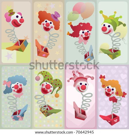 set of jack in the box cards - for vector version see image no. 69944473