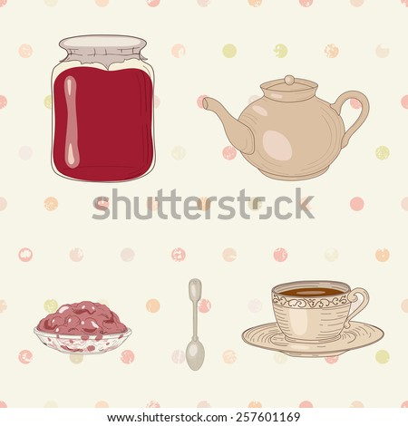 Set of jam jar, tea cup, pot, spoon and jelly dish on polka dot seamless background - stock photo