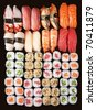 Set of Japanese sushi background - stock photo
