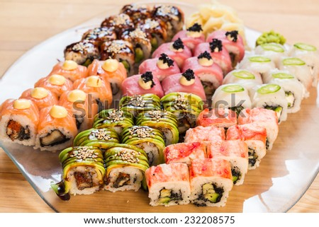 set of Japanese sushi on a white plate - stock photo