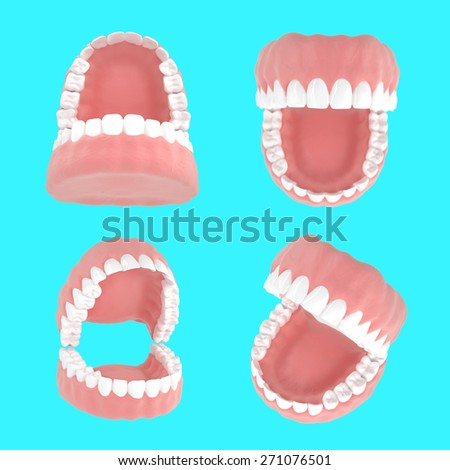 Set of jaws from different angles . Dental 3D illustrations on a blue background - stock photo