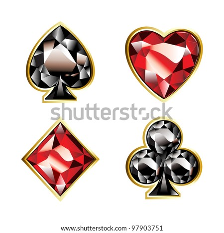 set of jewel aces with golden shine. - stock photo