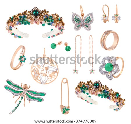 Set of jewelry items female. Gold silver green emerald gemstones diamonds precious accessorize - tiara, necklace butterfly, earrings, ring, pin isolated on white.  - stock photo