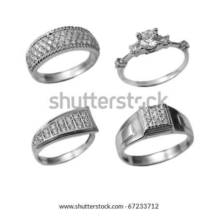Set of jewelry rings isolated over white background