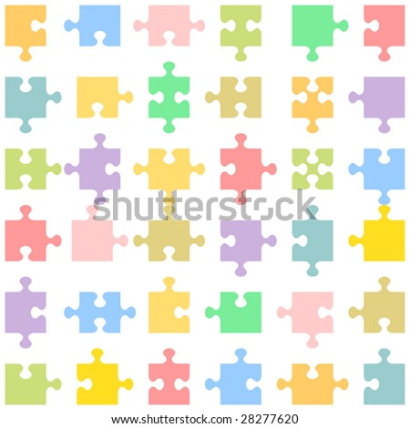 Set of 36 jigsaw puzzle pieces of various shapes fitting each other ( for vector EPS see image 28277617 )