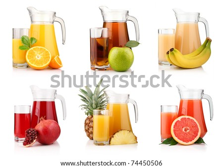 Set of jugs and glasses with tropical fruit juices isolated on white background - stock photo