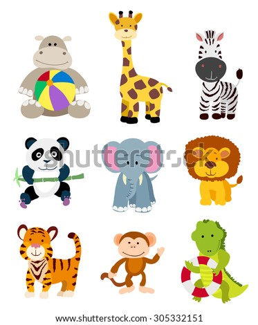 set of jungle cartoon animals. raster version - stock photo