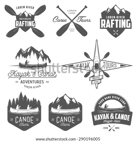 Set of kayak and canoe emblems, badges and design elements - stock photo