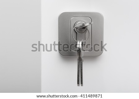 Set of keys in the keyhole on white background