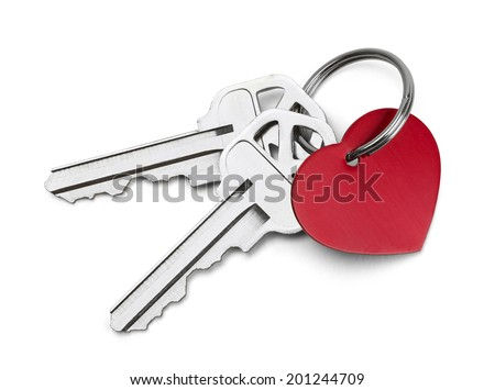 Set of Keys with Red Heart Isolated on White Background. - stock photo