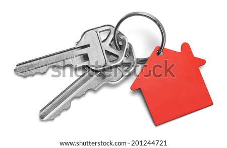 Set of Keys With Red House Isolated on White Background. - stock photo