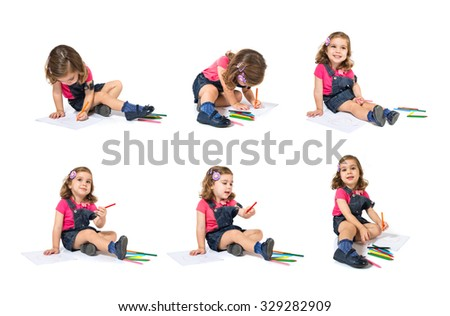 Set of kids drawing crayons over white background - stock photo