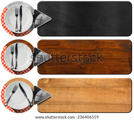 Set of Kitchen Banners with Arrows / Collection of three kitchen banners with white empty plate, silver cutlery, red and white checkered tablecloth and grey arrows. Isolated on white background - stock photo