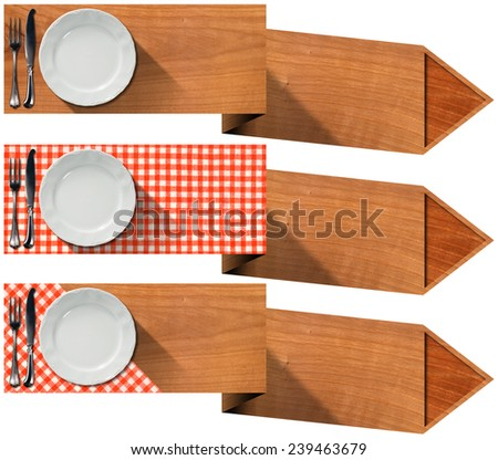 Set of Kitchen Banners with Arrows. Collection of three kitchen banners with white empty plate, silver cutlery, red and white checkered tablecloth and wooden arrows. Isolated on white background - stock photo