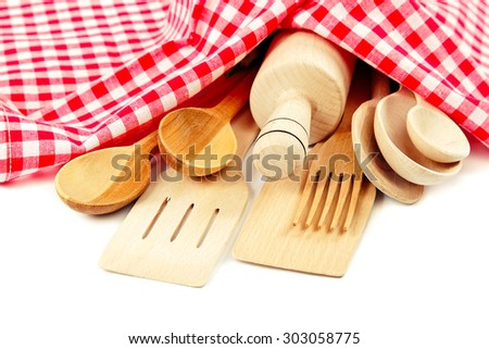 Set of kitchen utensils isolated on white background. - stock photo