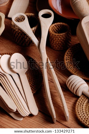 set of kitchen utensils wooden