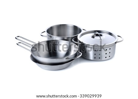 set of kitchenware for children imagination on white background