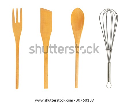 Set of kitchenware isolated on white background