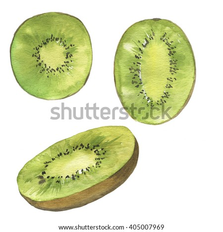 Set of kiwi slices on white background. Hand drawn watercolor illustration. - stock photo