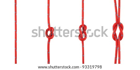 Set of Knots Tied in Red Rope Isolated on White - stock photo