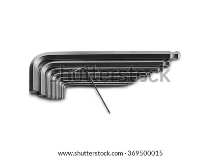 Set of L-Wrench over the isolated white background