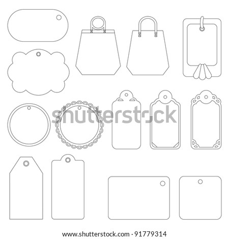Set of labels and tags, monochrome contours on white background - stock photo