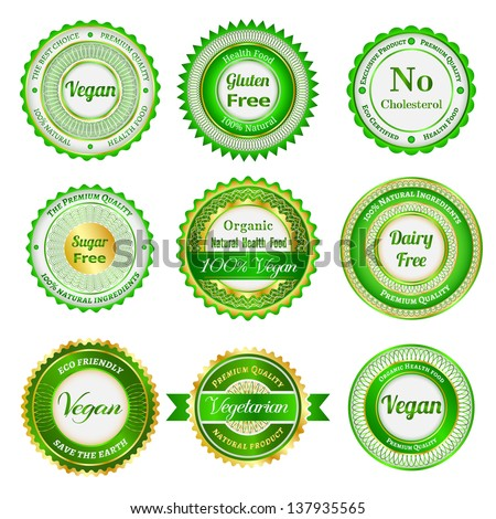Set of labels, badges and stickers on organic and natural food. Raster version. - stock photo