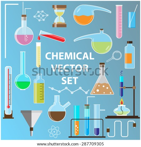 Set of laboratory flasks. Chemistry objects in flat design. - stock photo