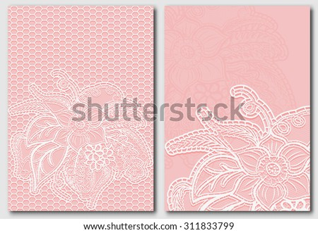 Set of lace template for design invitations and greeting cards. Openwork elegant cloth on pink background. Rasterized version. - stock photo